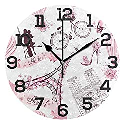 Dozili Vintage Paris Eiffel Tower Pink Round Wall Clock Arabic Numerals Design Non Ticking Wall Clock Large for Bedrooms,Living Room,Bathroom