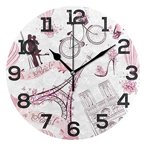 Infinity Eiffel Tower Wall Clock - Dozili Vintage Paris Eiffel Tower Pink Round Wall Clock Arabic Numerals Design Non Ticking Wall Clock Large for Bedrooms,Living Room,Bathroom