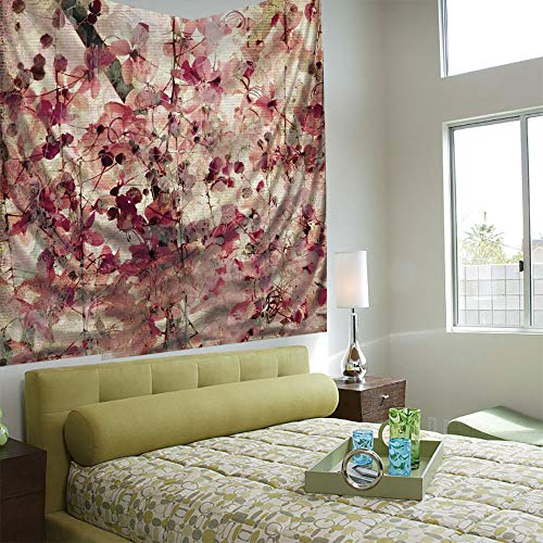 Fashionable Personality Tapestry Home Decoration Background Elastic Living Room,Antique Decor,Grungy Effect Cherry Blossoms on Ribbed Bamboo Retro Background Floral Art Work,Pink Beige