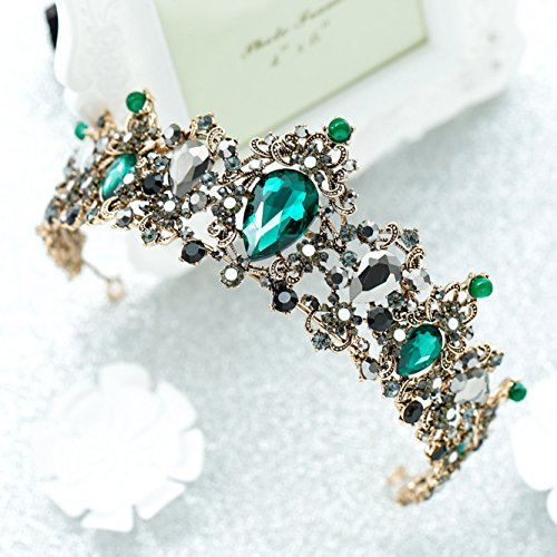 Unicra Baroque Green Crystal Crown Wedding Queen Tiaras and Crowns for Women Decorative Headbands for Prom (Type ()