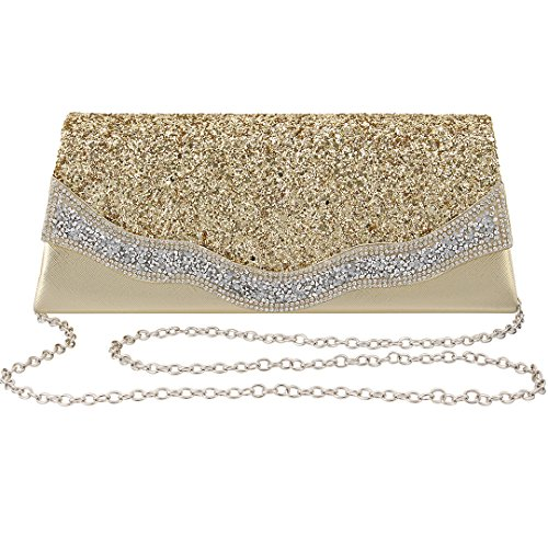Evening Party Gold Bag Prom 3 Batique Shiny Clutch Cocktail Bag Women Wedding Rhinestone Bag Purse tABqYFx