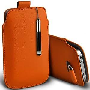 ONX3 LG Optimus L3 E430 de Orange II PU Tire la lengüeta protectora Funda + Negro retráctil pantalla táctil Stylus Pen