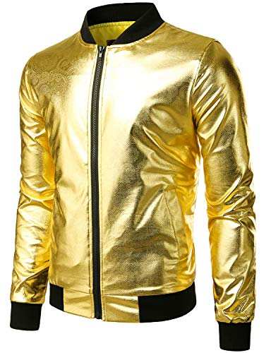 ZEROYAA Mens Hipster Geek Metallic Shinny Solid Paisley Floral Slim Fit Zip Up Baseball Varsity Bomber Jacket Z47 Gold X Large