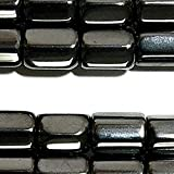 Luxury & Custom {6 x 8mm} of Approx 50 Individual Loose Small Size Hexagon Cylinder ''Hexagon Tube'' Beads Made of Genuine Hematite w/ Classy Simple Classy Magnetic Design on Strand {Black}