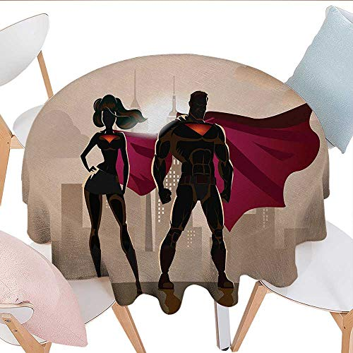 Antaquzhuq Washable Table Cover, Super Woman and Man Heroes in City Fighting Crime Hot Couple in Costume, for Kitchen Dining Party (Round, 36 Inch, Beige Brown -