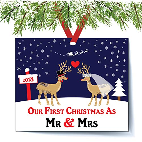 Deer Bride & Groom Ornament 2018, First Christmas as Mr. & Mrs. Ornament, First Married Christmas, Wedding Gift Flat Rectangle Ornament, Red Ribbon & Gift Bag