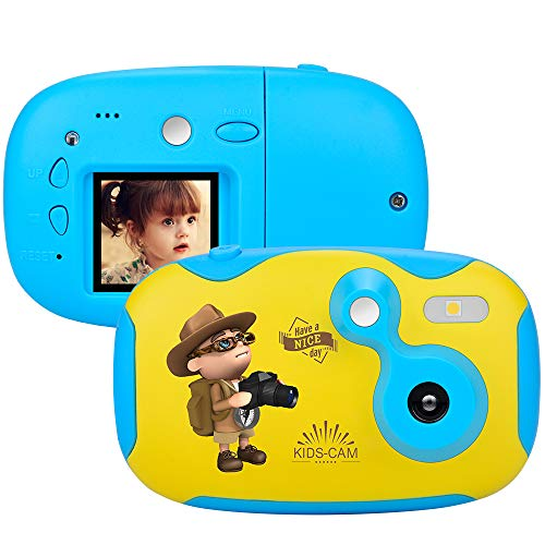 Weton Kids Digital Camera, 1.44 inch Digital Video Camera Creative DIY Camera for Kids with Soft Silicone Protective Shell 1080P HD Sport Learn Mini Camera Camcorder for Boys Girls Gifts (Blue) (1.3 Mp Flash)