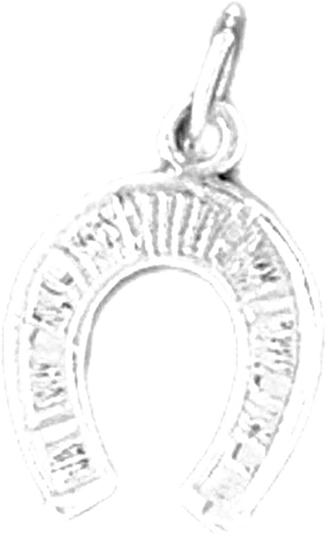 Jewels Obsession 14K White Gold Horse Shoe Pendant 18 mm