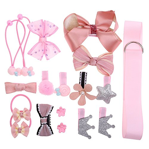 Hair Clips Cute Bowknot Crown Hair Barrette Hairpin Headdress Bows Accessories for Photography Pops Costume Party Baby Girls Kids Toddler Birthday Gift (18pcs Pink) -