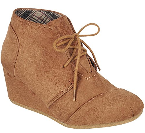 Link Bootie Wedge Forever Tan up Hidden Lace Women's Ankle zxqv6Z