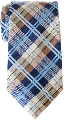 Retreez Men's Tartan Check Woven Microfiber Tie