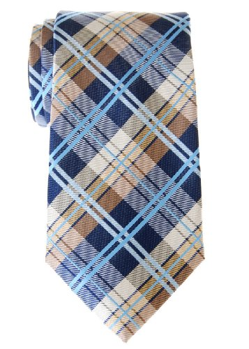 Retreez Elegant Tartan Check Woven Microfiber Men's Tie - Navy Blue and Khaki