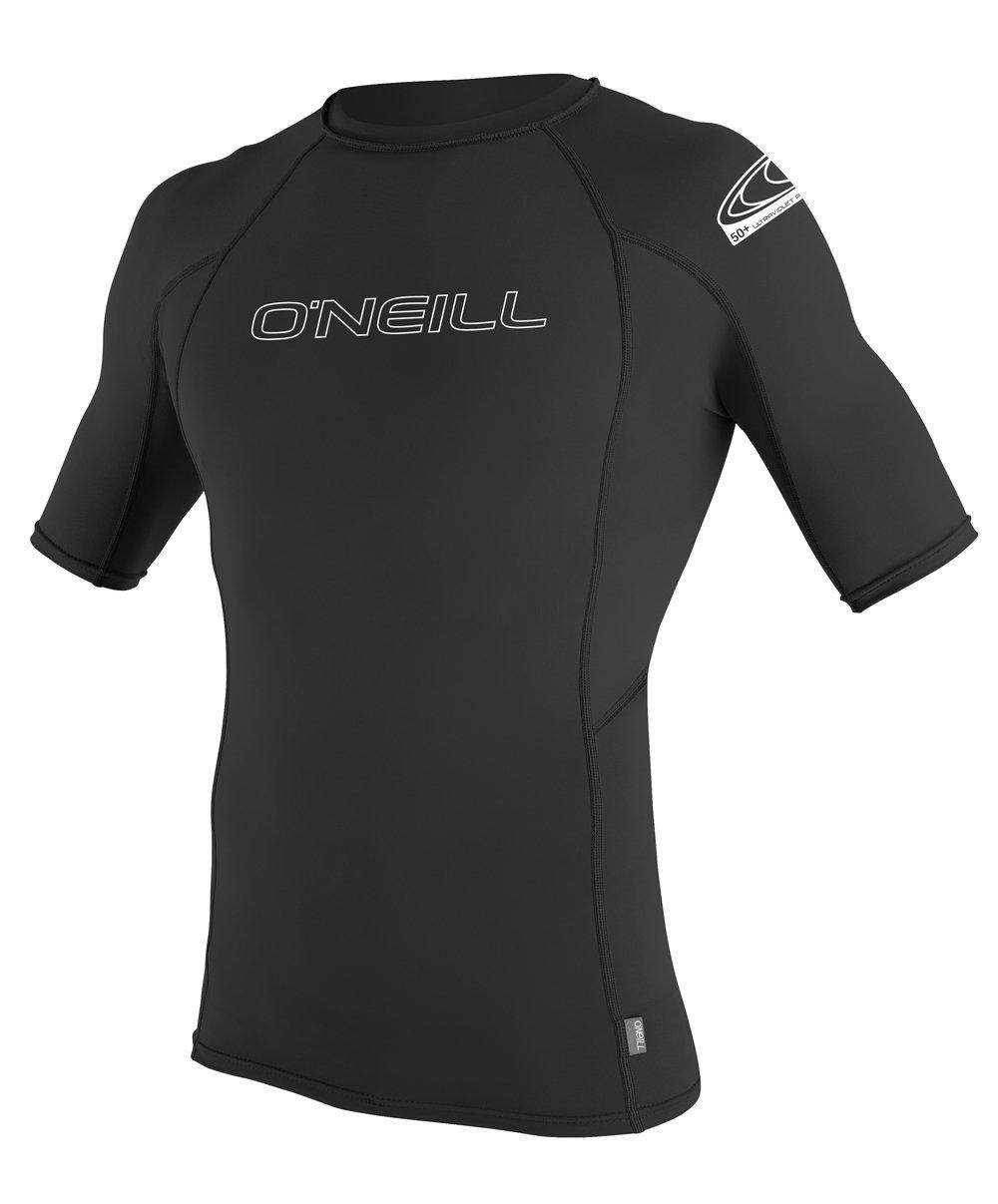 O'Neill Wetsuits Men's Basic Skins UPF 50+ Short Sleeve Rash Guard, Black, Medium