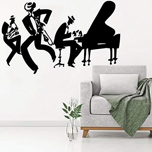 Saxophone Piano Jazz Cool Wall Stickers Home Music Decoration Saxophone Musical Instrument Band Modern Mural Poster Quality Decal 57x98cm