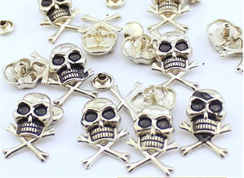 10Set Antique Silver Skull and Crossbones Rivets Leathercraft Brads Conchos Nailheads DP256