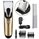 FlyCreat Dogs Grooming Clippers, Professional Electric Low Noise Rechargeable Cordless Dogs and Cats Hair Clippers Grooming Set for Large, Medium, Small Pets