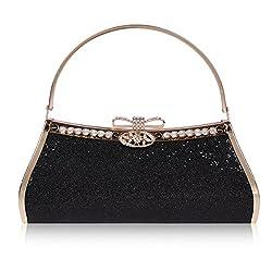 Damara Womens Sparkling Sequins Bow Snap Tote Evening Bag,Black