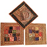 3 Pcs Ethnic Cushion Cover Patchwork Embroidered Brown Cotton Square Toss Pillow Cases 16x16