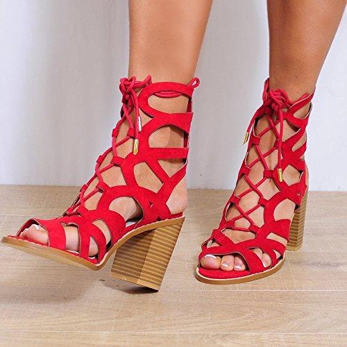 Ladies Rouges Sandales Lanières Découpées Lacent Vers Le Haut De Bloc Chaussures Talons 3-8