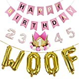 Legendog Dog Birthday Party Supplies Cat Birthday Hat Happy Birthday Balloons Banner Foil Balloons WOOF Letters Balloons for Dog Cat Birthday Decorations (Pink)