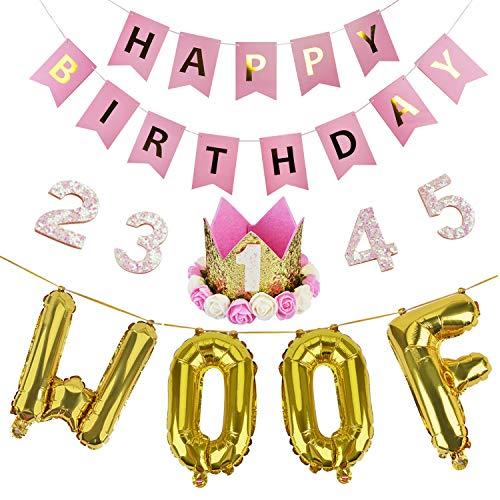 Legendog Dog Birthday Party Supplies Cat Birthday Hat Happy Birthday Balloons Banner Foil Balloons WOOF Letters Balloons for Dog Cat Birthday Decorations (Pink) for $<!--$13.98-->