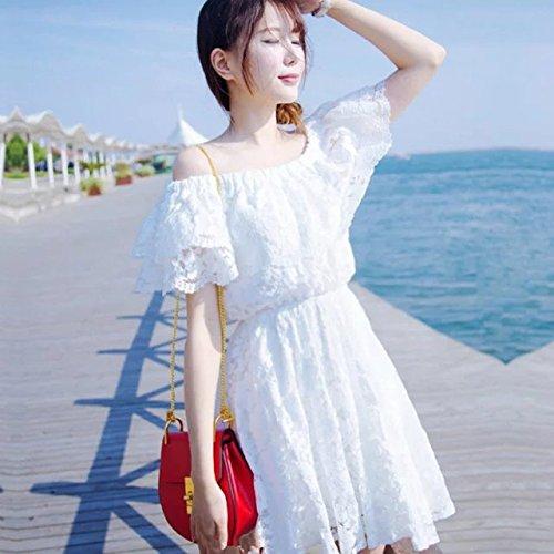 アリーナ爆発物鳴らす夏ワンピース レディース ビーチ レースワンピース 海 旅行 肩出し 夏らしい清涼感 お嬢さん ホワイト ロリータ オシャレ 大人可愛い ショート丈 姫系 韓国風 ホワイト