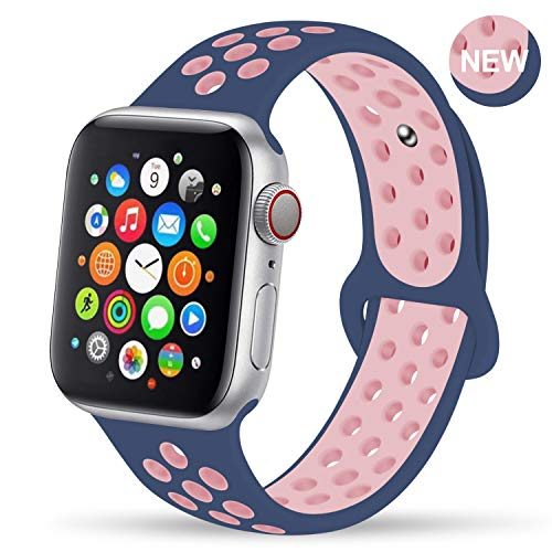 GZ GZHISY Newest Band Compatible for Apple Watch Bands 38mm 40mm, Soft Silicone Sport Band Replacement Wristband, Compatible for iWatch Apple Watch Series 4/3 2/1, MidnightBlue/LightPink 38/40ML ()
