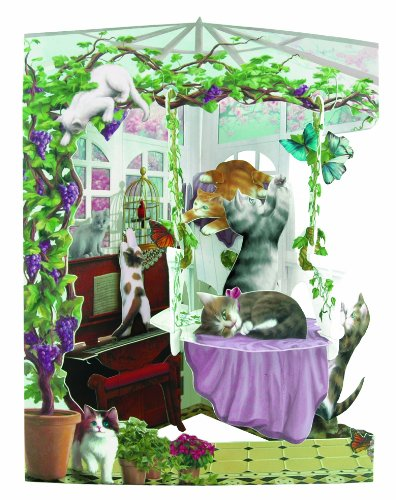 Cat Birthday Greeting Card (Santoro Interactive 3D Swing Greeting Card, Cats In Conservatory)