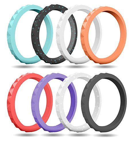 FluxActive Silicone Wedding Ring for Women (8 Band Pack) Stackable Studded (Glitter Black, Silver, Teal, Purple, Coral, Peach, Gray, White, 8)