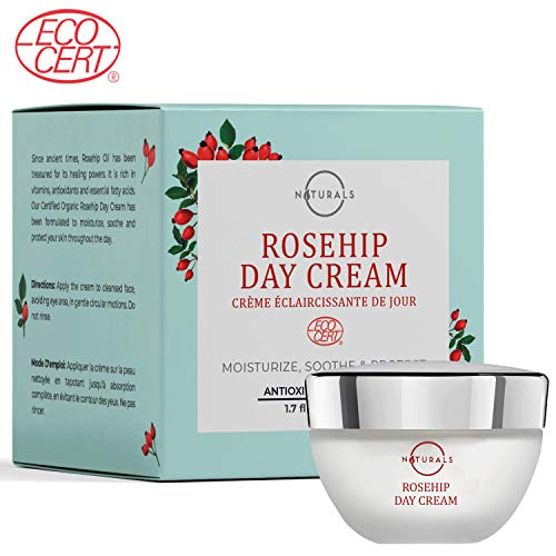 (O Naturals Brightening Day Cream ECOCERT Certified Organic – Made with Rosehip Oil + Argan Oil. Fast Absorbing Antioxidant Formula to Repair Skin & Reduce Signs of Aging, Wrinkles & Fine Lines. 1.7 Oz)