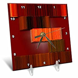 3dRose Jos Fauxtographee- 3D Volume Modern Maroon - A rust red with brown modern looking picture using 3D Plane - 6x6 Desk Clock (dc_260700_1)