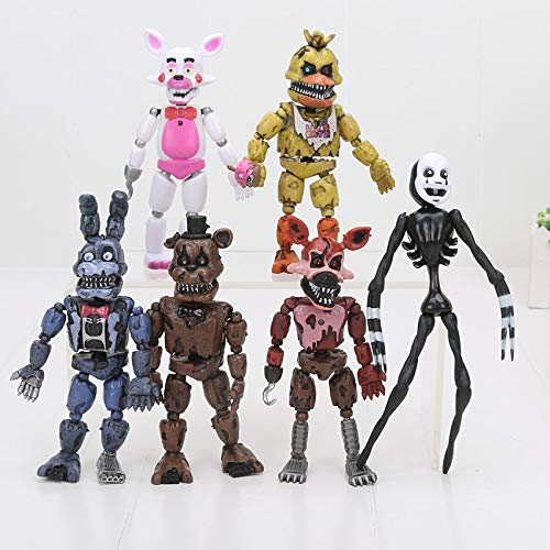 PAPEO Set 6 FNAF Action Figures 5 inch Hot PVC Figure Toy Small Toys Mini Model Figurine Statue Christmas Halloween Birthday Gift Collectible Fazbear for Kids Adults