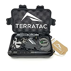 TERRATAC Emergency 8-in-1 Waterproof EDC Survival Kit with Multi-functional Saber Card | Tactical Flashlight | Hiking Compass | Powerful Camping Whistle | Firestarter |
