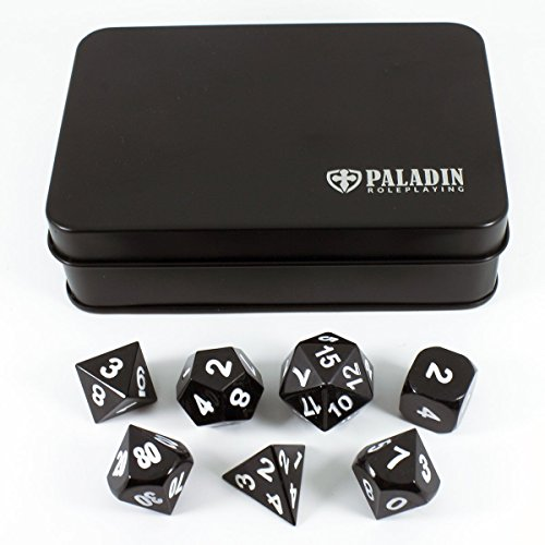 (Paladin Roleplaying Black Metal Dice - Full Polyhedral Set in Presentation Case)