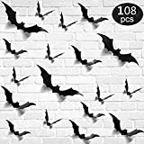 108PCS/4SIZE 3D Bats Sticker DIY Halloween Party Supplies Reusable Decorative Scary Wall Decal for Home Window Clings Decorations