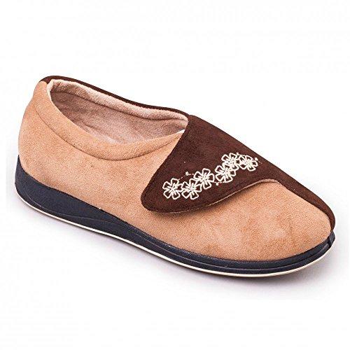 brown Padders ee Microsuede Raccordo Pantofole Donna Da Camel Hug Velcro brown camel Largo Extra Beige fBqf6A