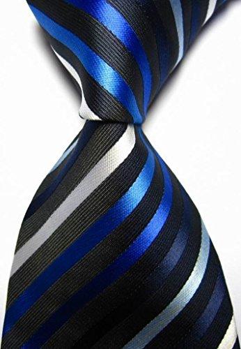 Scotch Collection® Modern Ties New Classic Stripes Black Blue White 100% Silk Men's Necktie