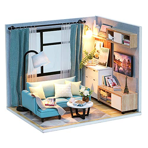 Spilay Dollhouse Miniature with Furniture,DIY Dollhouse Kit Handmade Mini Modern Model Plus with Dust Cover & Music Box ,1:24 Scale Creative Doll House Toys for Children Girl Gift (Living ()