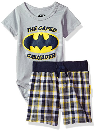 Warner Brothers Baby Boys' 2 Piece Batman Bodysuit and Plaid Short Set, Grey, 0/3m