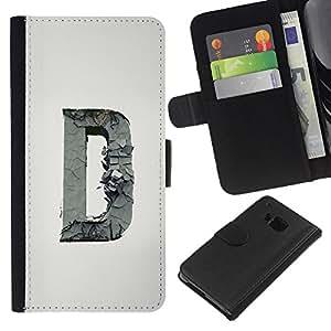 A-type (D Carta Escultura inicial Profundo gris) Colorida Impresión Funda Cuero Monedero Caja Bolsa Cubierta Caja Piel Card Slots Para HTC One M9