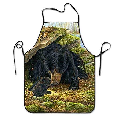 Mydufish Apron Black Bears Art Deluxe Aprons Personalized Printing Kitchen ()