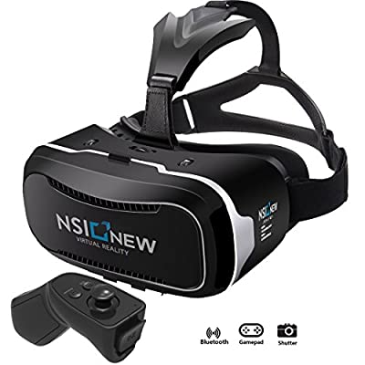 NSInew 3D Virtual Reality Headset is HD VR Goggles or 3D VR Glasses for 100% Virtual Reality Gaming Experience, 3D Movies, and 360? Video. It's a New VR Headset with BONUS Bluetooth Remote Controller