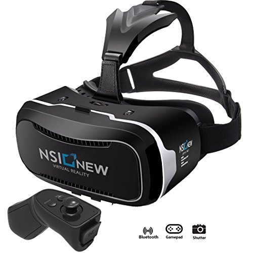 NSInew-3D-Virtual-Reality-Headset-is-HD-VR-Goggles-or-3D-VR-Glasses-for-100-Virtual-Reality-Gaming-Experience-3D-Movies-and-360-Video-Its-a-New-VR-Headset-with-BONUS-Bluetooth-Remote-Controller