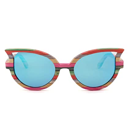 CWYPB Zebra Wood Gafas de Sol, Moda Ojo de Gato Gafas de Sol ...