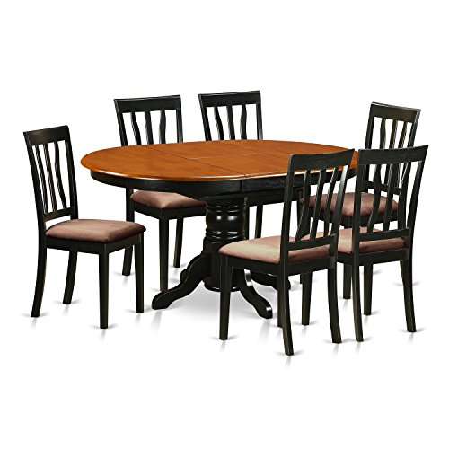 East West Furniture AVAT7-BLK-C 7 Piece with 6 Wooden Chairs Antique Dining (Oval Extendable Dining Table)