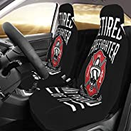 Retired Firefighter Car Seat Cover Auto Seat Set 2pcs Car Front Seat Protector Covers Universal Car Interior A