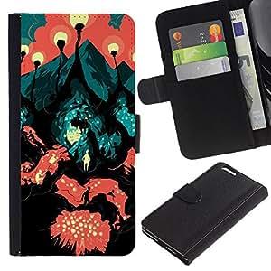 KLONGSHOP / Tirón de la caja Cartera de cuero con ranuras para tarjetas - Travel Road Symbolic Art Painting City Lava - Apple iPhone 6 PLUS 5.5