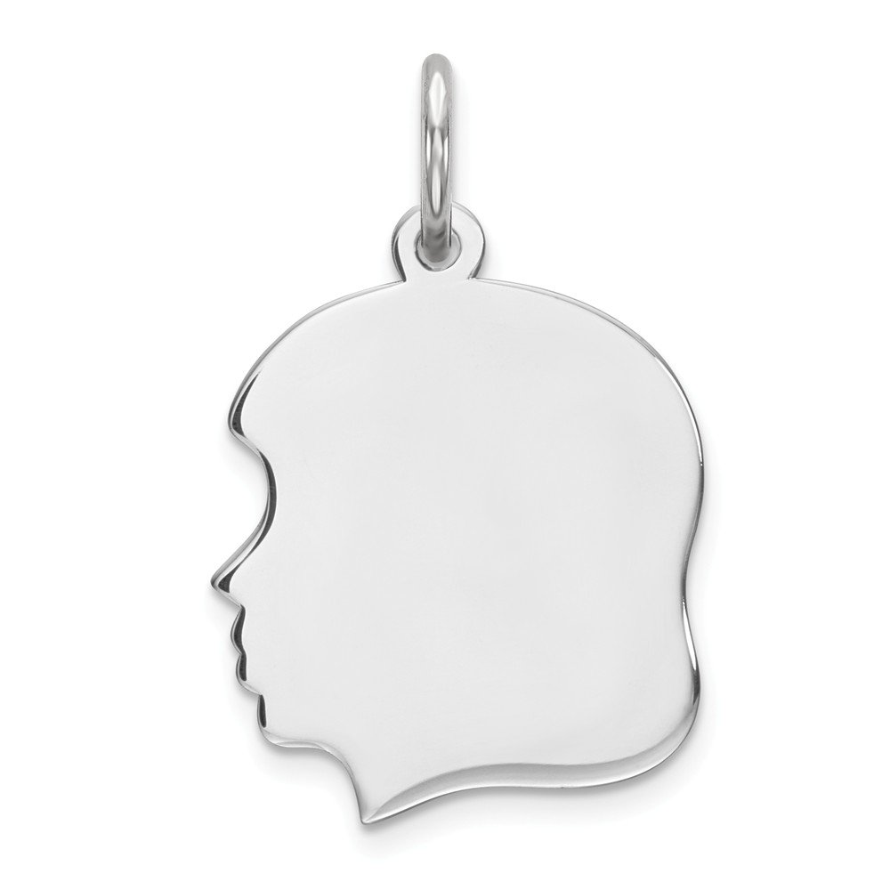Mia Diamonds 925 Sterling Silver Solid Engraveable Girl Polished Front//Satin Back Disc Charm 16mm x 13mm