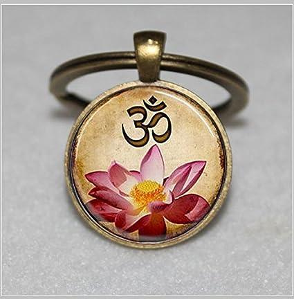 Llavero de yoga, Om, diseño de flor de loto rosa, llavero único, regalo personalizado, llavero de regalo diario