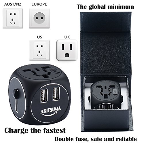 Global small Travel smart Adapter Plug,Worldwide Power Plug Wall AC Adaptor Charger,for US,UK,EU,AU & Asia Covers 150 Countries,Dual USB International Charger with Fuse 6A Quick charger Gifts